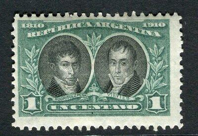 ARGENTINA;  1910 early Anniversary issue fine Mint hinged 1c. value