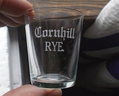 Cornhill Rye Etched Pre Pro Whiskey Advertising Shot Glass Rochester,ny 1905 Era