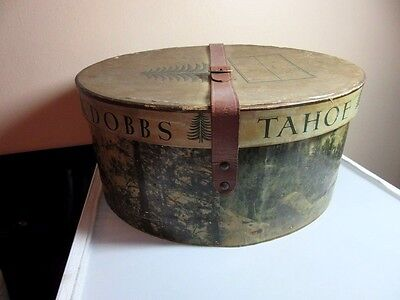 RARE Vtg Dobbs TAHOE hat box with leather srtap