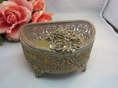 Vtg ornate brass ormolu filigree jewelry box with glass lid. Roses