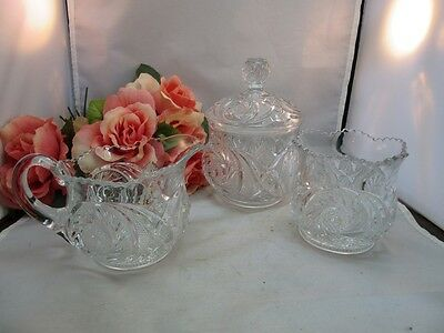 Vtg clear pressed glass creamer, sugar and candy dish set