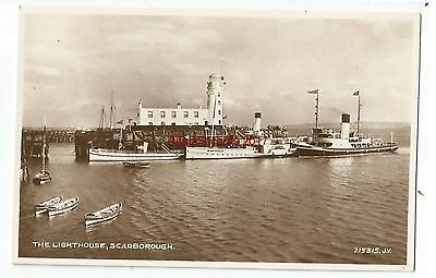 Yorkshire Scarborough The Lighthouse Real Photo Vintage Postcard 24.02