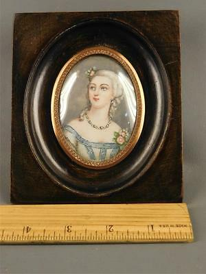 Antique French Hand Painted Miniature Lady Portrait in Wood Frame