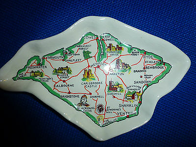Sandygate Pottery Devon Decorated Pin Dish Isle of Wight map