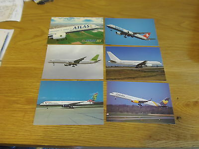 """10 x colour(6x4"""")postcards of airlines that fly/flew B757 aircraft"""