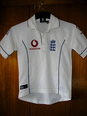 England Cricket Shirt Admiral size age 5/6 White Vodafone
