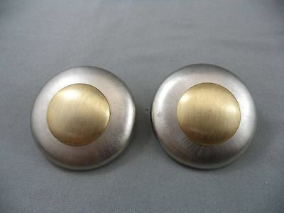 Marcy Feld Brushed Gold & Silver Tone Flying Saucer Shaped Metal Clip Earrings