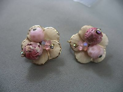 VTG Goldtone Rhinestone Beaded Glass Enamel Crystal Flower Clip-on Earrings