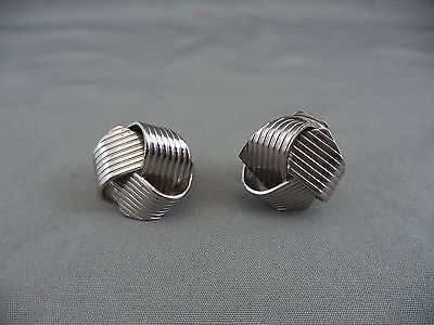 Vintage Three Dimensional Silvertone Knot Shaped Swirled Earrings Clip-on