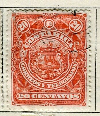 COSTA RICA;  1892 early classic issue fine used 20c. value
