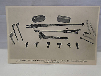 A Smokers Kit 18th Century Pipe Stoppers Case Tongs Guildhall Museum Postcard