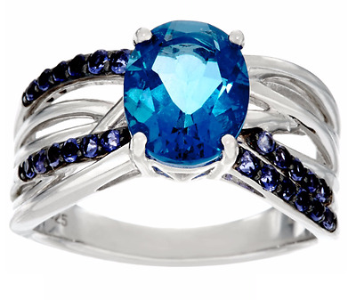 Color Change Fluorite 3.00 Ct & Iolite Sterling Silver Band Ring Size 7 Qvc $99