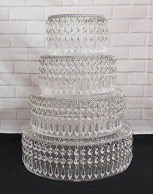 Stunning 4 Piece Clear Acrylic Crystal Wedding Cake Stand Set / Chandelier