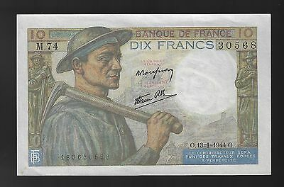 1944 France 10 Francs Note, Pick 99 a/UNC  (CRISP)