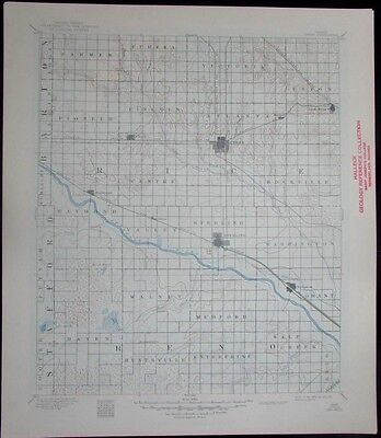Lyons Kansas Arkansas River Sterling Nickerson vintage 1949 old USGS Topo chart