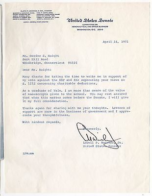 1971 LOWELL WEICKER Connecticut US SENATE Senator TLS Political LETTER Yale CT