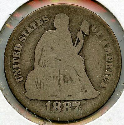 1887-S Seated Liberty Dime - San Francisco Mint - AA821