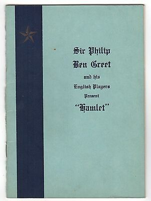 1929 HAMLET PROGRAM Shakespeare SIR PHILIP BEN GREET Players NEW BEDFORD MASS MA