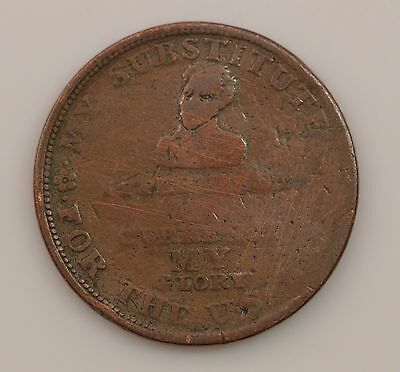 """1834 """"Down With The Bank"""" Hard Times Token *Q21"""