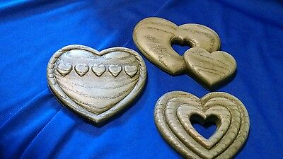 Set of 3 Country Hearts Blue Wall Plaques Home Interior HOMCO Vintage!