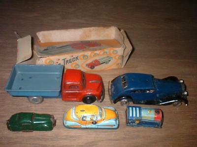 5 Vintage Tinplate Tin Plate & Clockwork Model Cars Lorrys Mixed Condition Minic