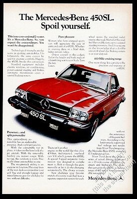 1974 Mercedes-Benz 450SL 450 SL red car photo Spoil Yourself vintage print ad