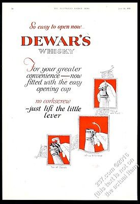 1928 Dewar's Scotch Whisky new easy-opening cap art vintage print ad