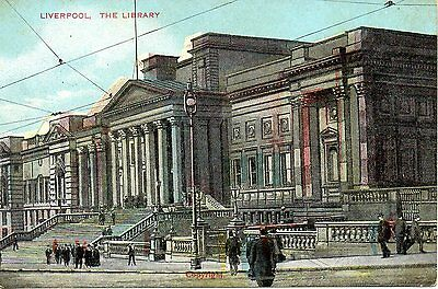LIVERPOOL - THE LIBRARY  c1905 POSTCARD