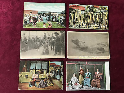 6 Old Vintage Postcards Chinese Execution ~ Torture ~ Dead Bodies ~ Prisoners