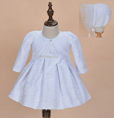 Cinda Baby Girl White Lace Christening Dress with Bonnet and Bolero 12-18 Month