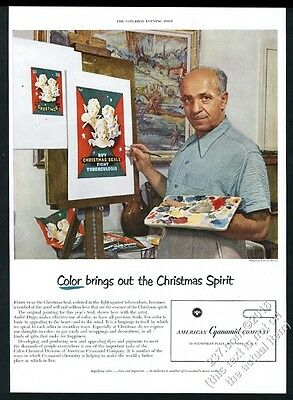 1950 Andre Dugo photo painting Christmas Seals art American Cyanamid print ad