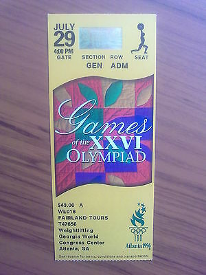 Ticket Olympic Games ATLANTA 29.07.1996 WEIGHTLIFTING