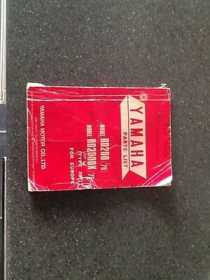 yamaha rd 200 200dx parts list book 1975