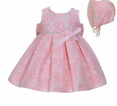 Cinda Baby Girl Pink Lace Party Dress with Bonnet 12-18 Months