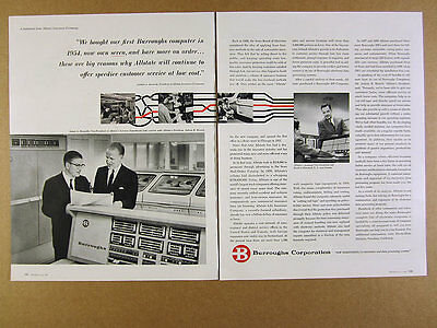 1960 Burroughs 205 & 220 Computer use by Allstate Insurance vintage print Ad