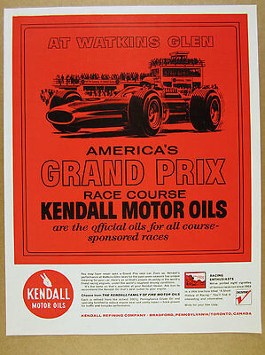1965 Watkins Glen race course car tower art Kendall Motor Oil vintage print Ad
