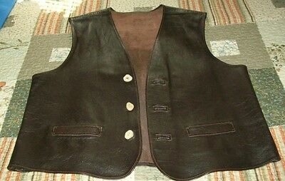 """Men's Hand Tooled Custom Made Brown Leather Vest Chest 21"""""""