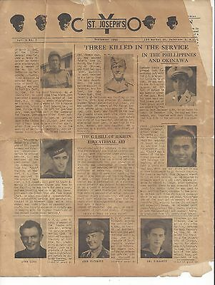 1945 CYO Newspaper of St. Josephs Church Paterson, NJ Info on WWII Soldiers