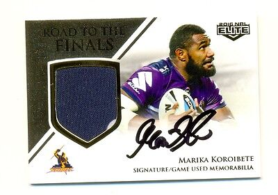 2016 NRL Elite Road to Finals Game Worn patch AUTO Marika Koroibete-Storm 16/50