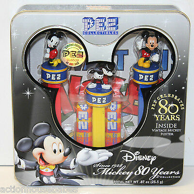 Walt Disney Pez Collectibles Mickey 80 Years Pez, Poster, and Tin - New & Sealed