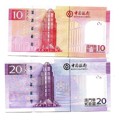 MACAU [Bank of China] 10 and 20 Patacas - A  set of 2 Crisp UNC Banknotes