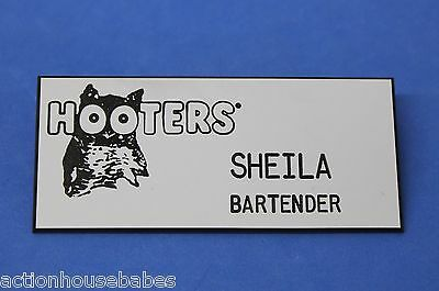 Hooters Restaurant Girl Sheila Bartender White Name Tag (Pin)