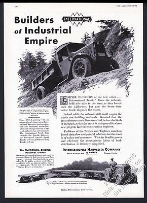 1930 International Harvester truck & industrial tractor photo vintage print ad