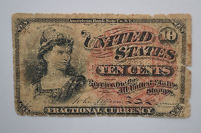 19th Century Ten Cents Fractional Currency *P25