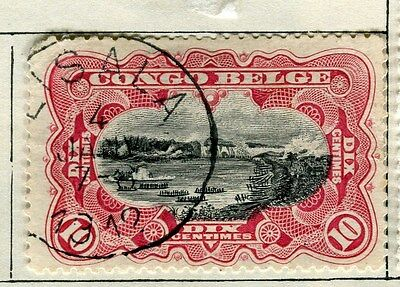 BELGIUM CONGO;  1910 early classic pictorial issue  5c. used,  Postmark