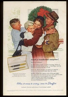 1955 Norman Rockwell Christmas art Sheaffer Snorkel fountain pen print ad