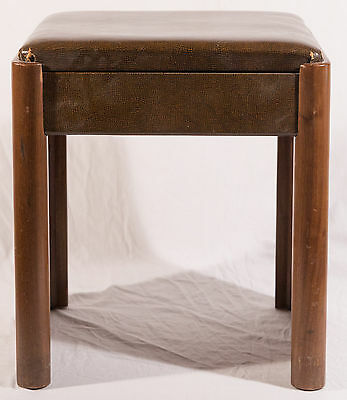 Mid Century Wood Stool with Leather Top