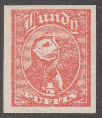 GB Lundy Island Local Post Labbe #1a mint 1/2p imperf S/S cutout 1929 cv $60