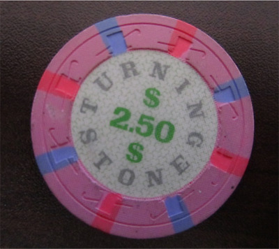 $2.50 Pink TURNING STONE Casino Chip for Collection Gaming Poker