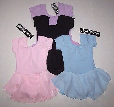 NWT New Danshuz Leotard Dress Georgette Skirt Pink Blue Black Purple Cute Girl